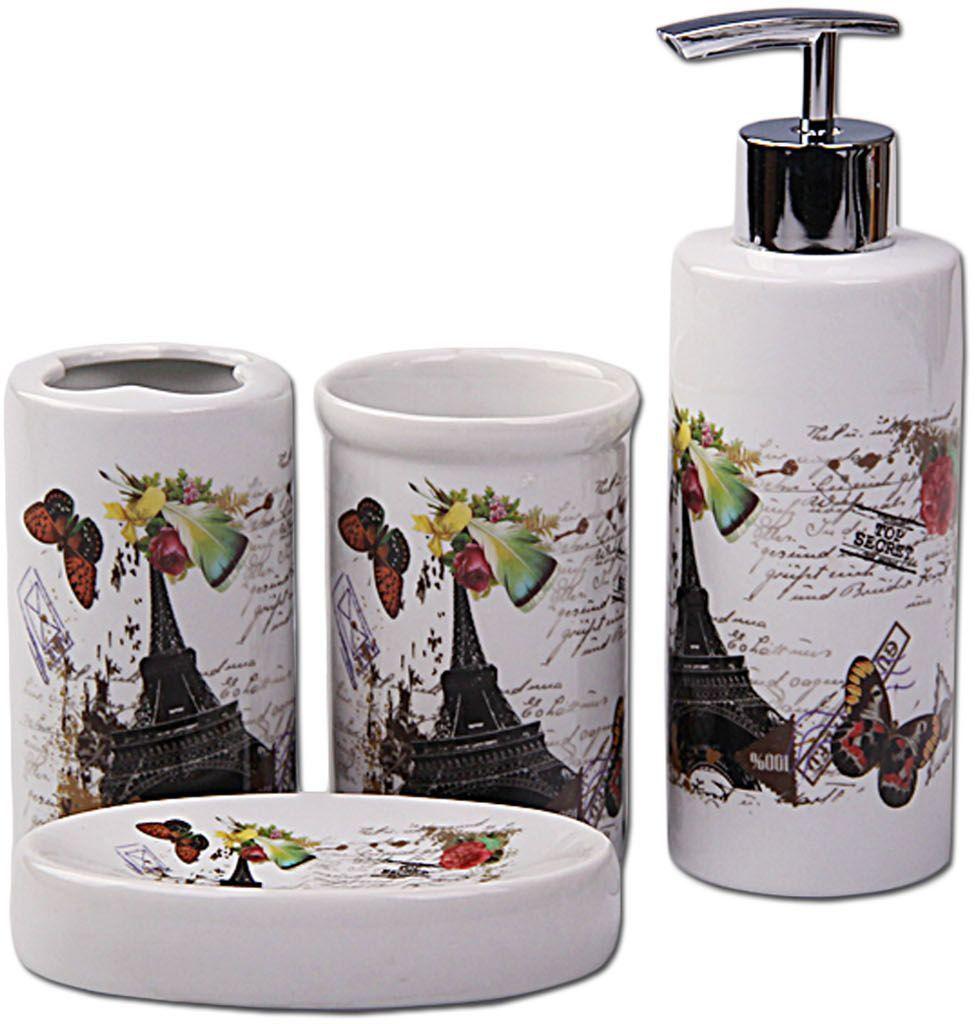 Набор для ванной Patricia, 4 предмета, цвет: белый, серый. IM99-2385/1IM99-2385/1Набор для ванной комнаты выполнен из керамики. Изделия декорированы яркими рисунками с изображение бабочек и эйфелевой башни.Набор для ванной можно использовать не только в качестве полезной детали но и как отдельный аксессуар.Набор для ванной включает в себя:дозатор 17,5х5,5х5,5 см; стакан 10х6х6 см; подставка под зубные щетки 10х5,5х5,5 см; мыльница 11,5х8х2,5 см. Такой набор - это прекрасное дополнение вашей ванной комнаты.