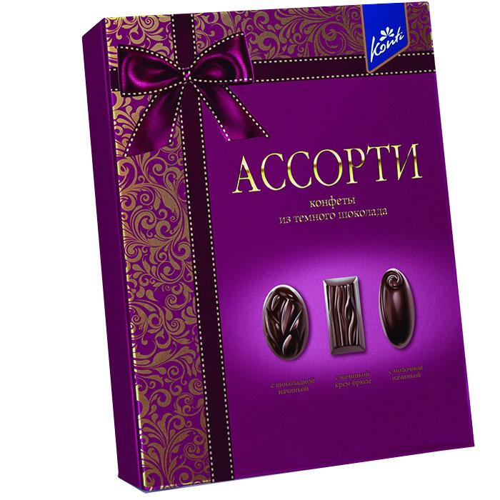 Konti Ассорти набор конфет из темного шоколада, 235 г4600495506191Набор конфет из натурального черного шоколада с тремя видами начинок: мягкой шоколадной, нежной крем-брюле и легкой молочной.