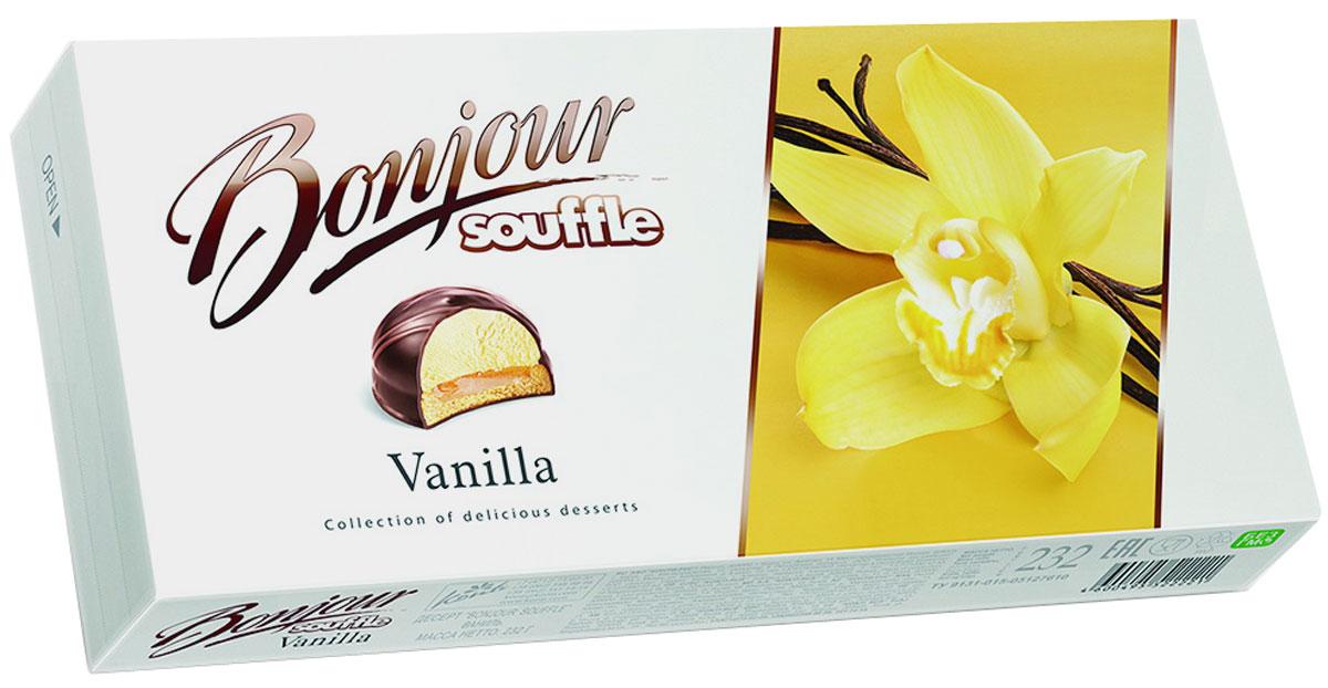 Konti Bonjour Souffle Vanilla суфле, 232 г4600495522221Сочетание сахарного печенья, мягкой карамели и нежного суфле с натуральной ванилью в шоколадной глазури, декорированное молочным шоколадом.