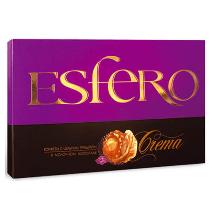 Konti Esfero Сrema шоколадные конфеты с цельным фундуком, 210 г4600495537980Роскошные шоколадные конфеты с цельным фундуком и восхитительным сочетанием черного шоколада, молочно-шоколадной глазури и хрустящих кусочков дробленого фундука.