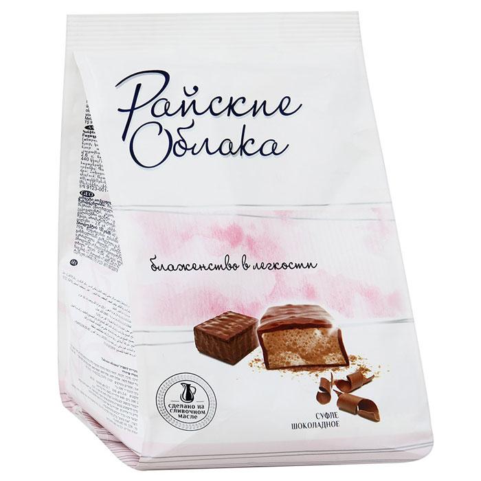 Райские Облака конфеты суфле шоколадное, 200 г4607134381263Конфеты Райские облака — это нежнейшее суфле в шоколадной глазури. Конфеты изготавливаются из натурального сливочного масла и высококачественного сгущенного молока, которые и создают вкус настоящего суфле.