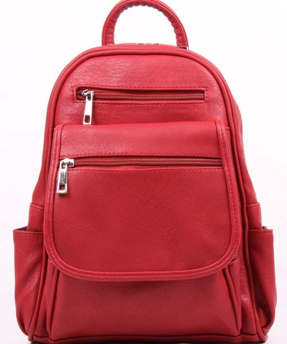 Рюкзак женский Медведково, цвет: красный. 16с3891-к1416с3891-к14Рюкзак женский, с одним отделением, на передней и задней стенках карманы на молнии.