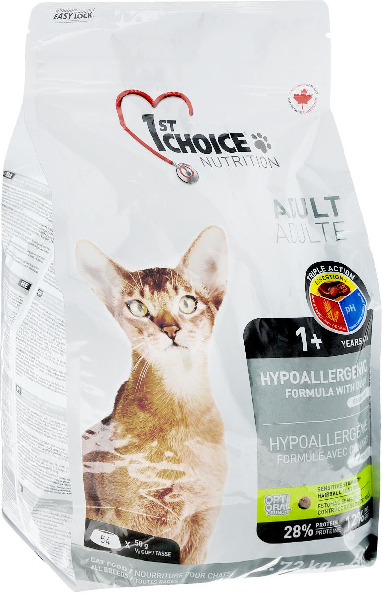 Корм сухой 1st Choice, для кошек, гипоаллергенный, без зерна, утка с картофелем, 2,72 кг102.1.2512st Choice Hypoallergenic гипоаллергенная формула разработана для животных с проблемами пищеварения, не содержит зерновых продуктов и является альтернативой при восприимчивости к традиционным источникам белка. Это действительно уникальный диетический продукт, направленный на поддержание оптимального здоровья кошек с особыми пищевыми потребностями. Уникальный гипоаллергенный белок мяса утки подходит для кошек с пищевой непереносимостью традиционных источников белка. Не содержит зерна, что облегчает переваривание. Это важно для кошек , чувствительных к зерновым продуктам в корме. Лосось и растительные масла поддерживают здоровье кожного покрова и шерсти и благотворно влияют на внешний вид кошек, склонных к аллергии Пищеварение +: Улучшает пищеварение и стабилизирует перистальтику кишечника. рН-контроль мочи: Снижает риск возникновения камней в мочевыделительной системе. Без зерна: Способствует здоровому пищеварению.