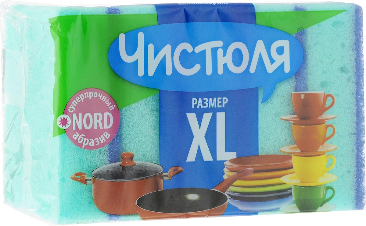 Губка для мытья посуды Чистюля XL, с абразивным слоем, цвет: зеленый, синий, 5 штП0311_зеленыйГубка Чистюля XL предназначена для мытья посуды, очистки раковин, плит и других поверхностей на кухне. Мягкий слой деликатно очищает, а абразивный слой позволяет справиться даже с трудновыводимыми загрязнениями. Размер губки: 10 х 7 х 3 см. Количество в упаковке: 5 шт.