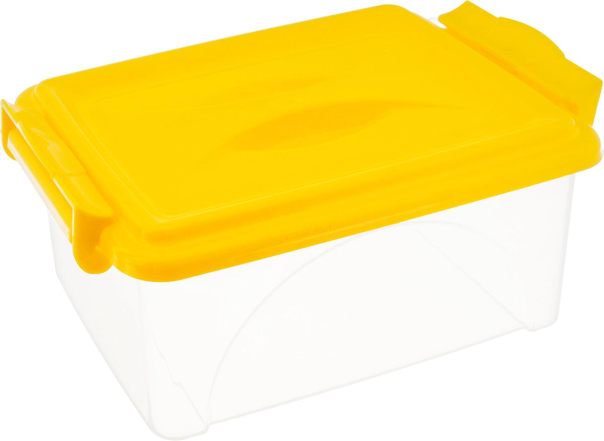 Контейнер Альтернатива, цвет: прозрачный, желтый, 2,5 лМ421_желтыйКонтейнер Альтернатива изготовлен из высококачественного пищевого пластика. Изделие оснащено крышкой и ручками, которые плотно закрывают контейнер. Емкость предназначена для хранения различных бытовых вещей и продуктов. Такой контейнер очень функционален и всегда пригодится на кухне. Размер контейнера (с учетом крышки и ручек): 26,5 х 16,5 х 11,5 см.