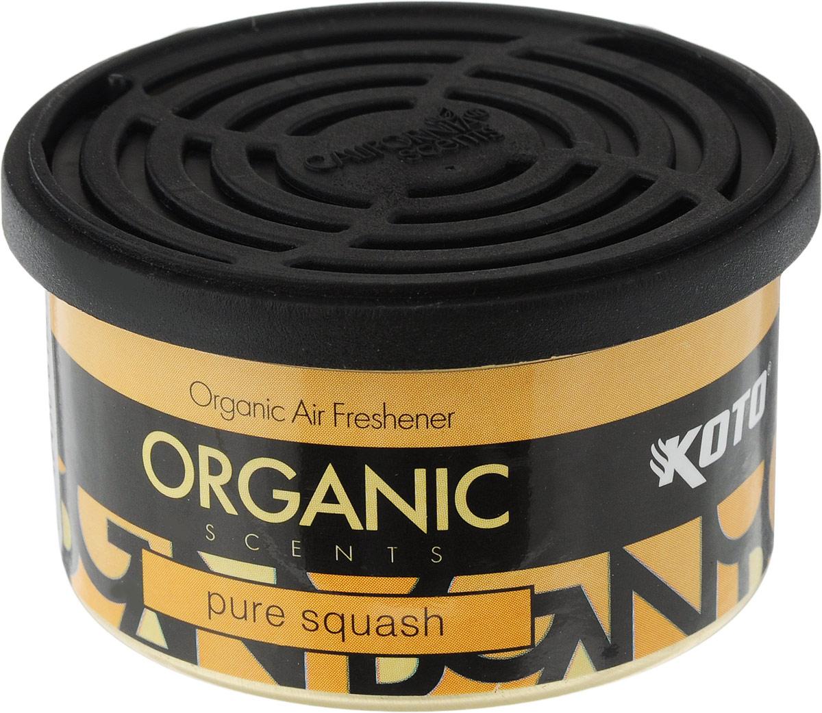 Ароматизатор автомобильный Koto Organic, чистый сквошFPO-105Автомобильный ароматизатор Koto Organic эффективно устраняет неприятные запахи и придает приятный аромат сквоша. Внутри - органический наполнитель, который не растекается и не вредит окружающей среде. Ароматизатор имеет удобную крышку-регулятор, так что интенсивность аромата вы сможете настроить сами. Стойкий аромат держится около 60 дней. Ароматизатор может быть расположен как на приборной панели, так и под сиденьем автомобиля. Товар сертифицирован.