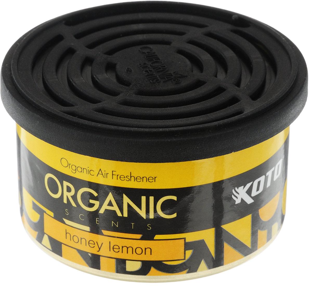 Ароматизатор автомобильный Koto Organic, медовый лимонFPO-106Автомобильный ароматизатор Koto Organic эффективно устраняет неприятные запахи и придает приятный аромат меда и лимона. Внутри - органический наполнитель, который не растекается и не вредит окружающей среде. Ароматизатор имеет удобную крышку-регулятор, так что интенсивность аромата вы сможете настроить сами. Стойкий аромат держится около 60 дней. Ароматизатор может быть расположен как на приборной панели, так и под сиденьем автомобиля. Товар сертифицирован.