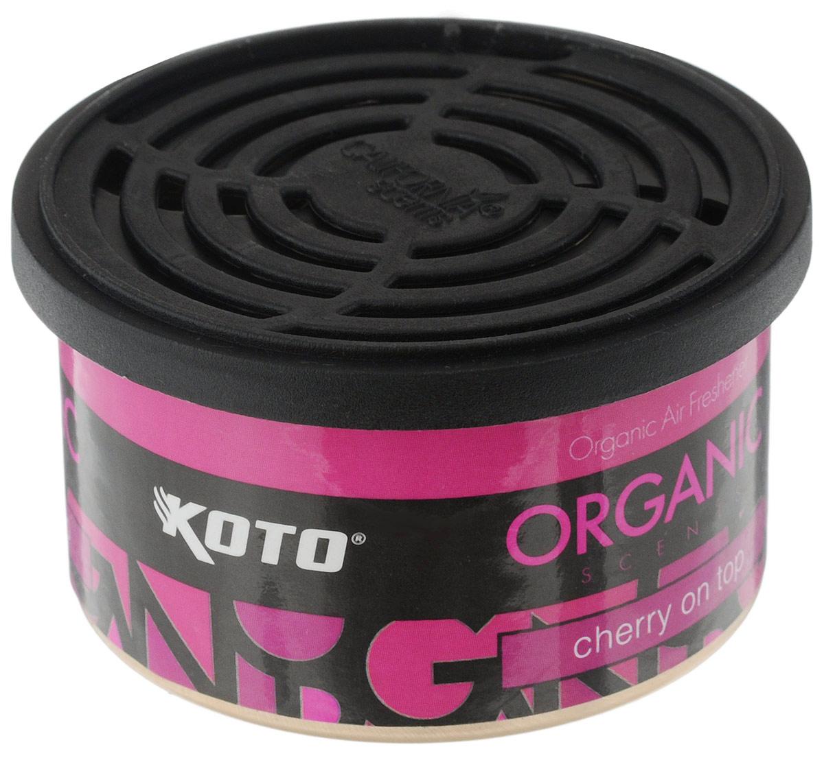 Ароматизатор автомобильный Koto Organic, вишняFPO-108Автомобильный ароматизатор Koto Organic эффективно устраняет неприятные запахи и придает приятный аромат вишни. Внутри - органический наполнитель, который не растекается и не вредит окружающей среде. Ароматизатор имеет удобную крышку-регулятор, так что интенсивность аромата вы сможете настроить сами. Стойкий аромат держится около 60 дней. Ароматизатор может быть расположен как на приборной панели, так и под сиденьем автомобиля. Товар сертифицирован.