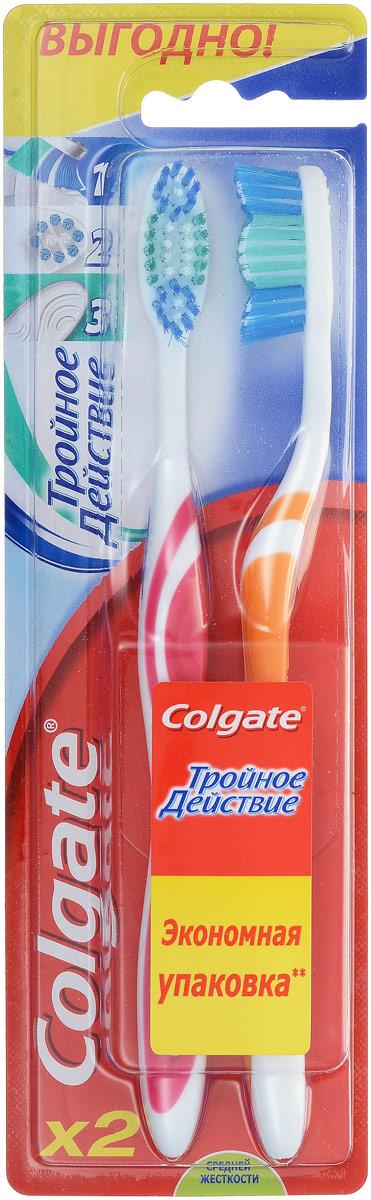 Colgate Зубная щетка Тройное действие, средняя жесткость, цвет: белый, розовый, оранжевыйFCN21767_белый, розовый, оранжевый