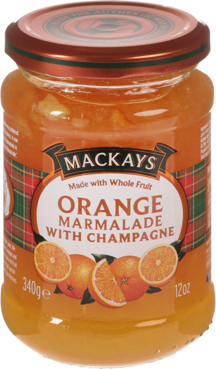Mackays Десерт фруктовый из апельсина с шампанским, 340 г211109Для цитрусовых джемов используют только высококачественные цитрусовые фрукты от лучших производителей из Севильи и других регионов Испании. Джем из спелых апельсинов, приготовленный с добавлением тростникового сахара и шампанского. Отличается насыщенным цитрусовым вкусом с пряными нотками. Рекомендуется употреблять как самостоятельное лакомство, а также намазывать на тосты или добавлять в выпечку.
