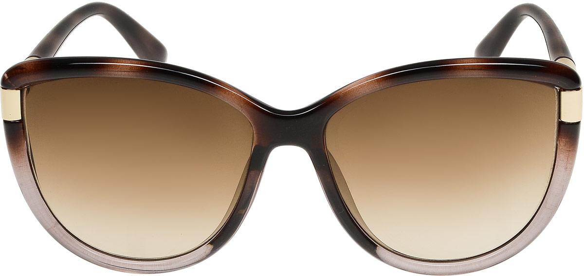 Очки солнцезащитные женские Модные истории, цвет: коричневый. 7/0022/0587/0022/058Стильные солнцезащитные очки Модные истории сделают приятной прогулку в жаркий солнечный полдень. Высокоэффективный встроенный УФ фильтр обеспечивает совершенную защиту от вредных ультрафиолетовых лучей.