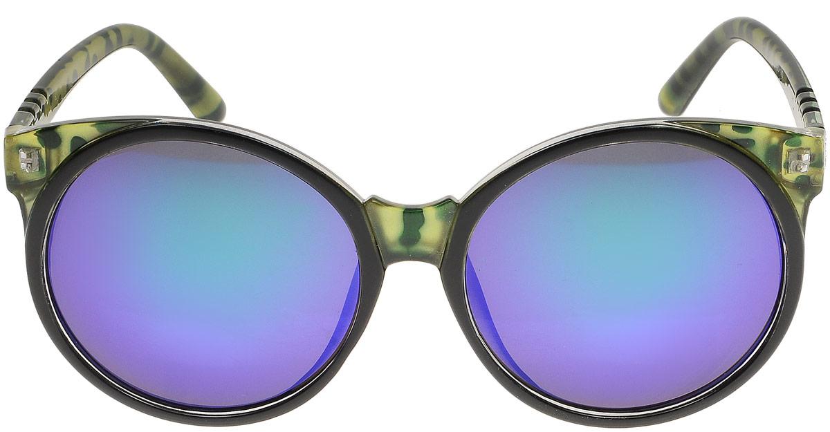 Очки солнцезащитные женские Модные истории, цвет: зеленый, фиолетовый. 7/00277/0027Стильные солнцезащитные очки Модные истории сделают приятной прогулку в жаркий солнечный полдень. Высокоэффективный встроенный УФ фильтр обеспечивает совершенную защиту от вредных ультрафиолетовых лучей.