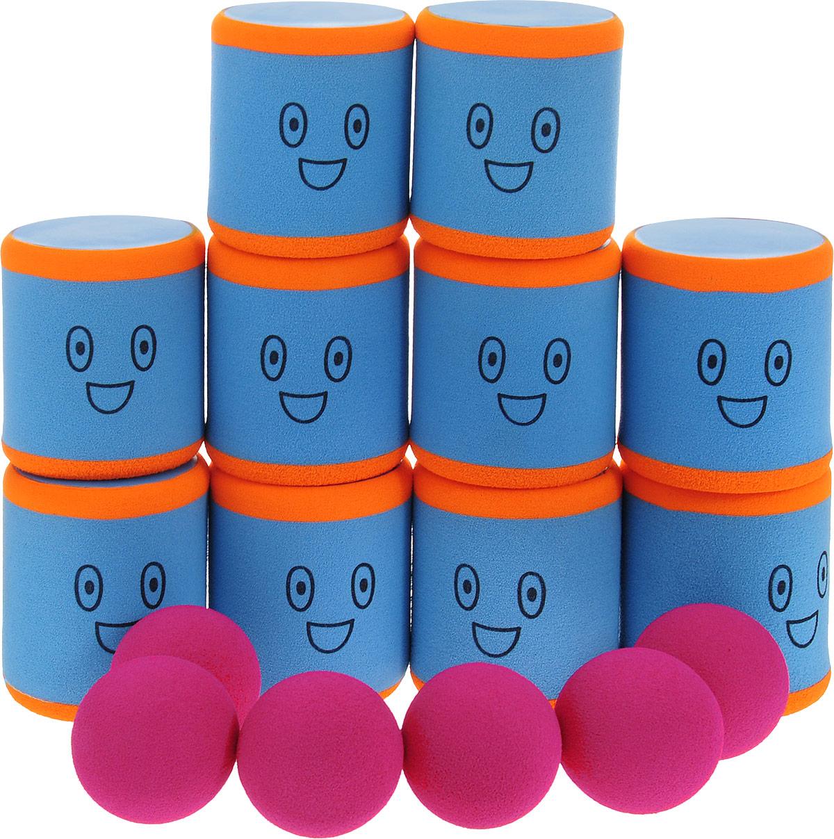 Safsof Игровой набор Городки цвет голубой оранжевый малиновый AT-01N(B)_голубой, оранжевый, малиновый