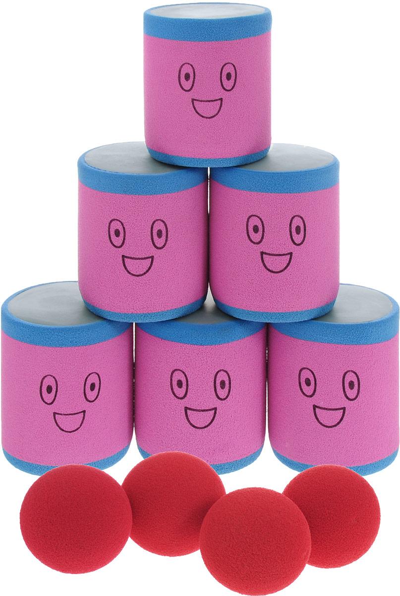 Safsof Игровой набор Городки цвет розовый голубой красный