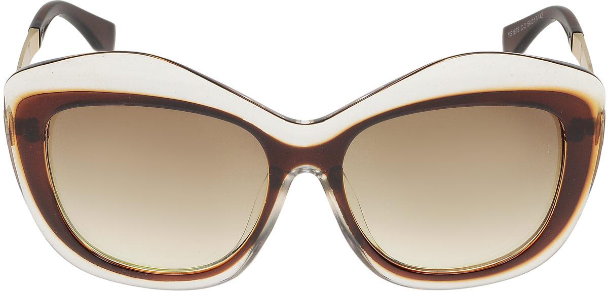 Очки солнцезащитные женские Модные истории, цвет: коричневый. 7/00267/0026Стильные солнцезащитные очки Модные истории оригинальной молнии сделают приятной прогулку в жаркий солнечный полдень. Высокоэффективный встроенный УФ фильтр обеспечивает совершенную защиту от вредных ультрафиолетовых лучей.