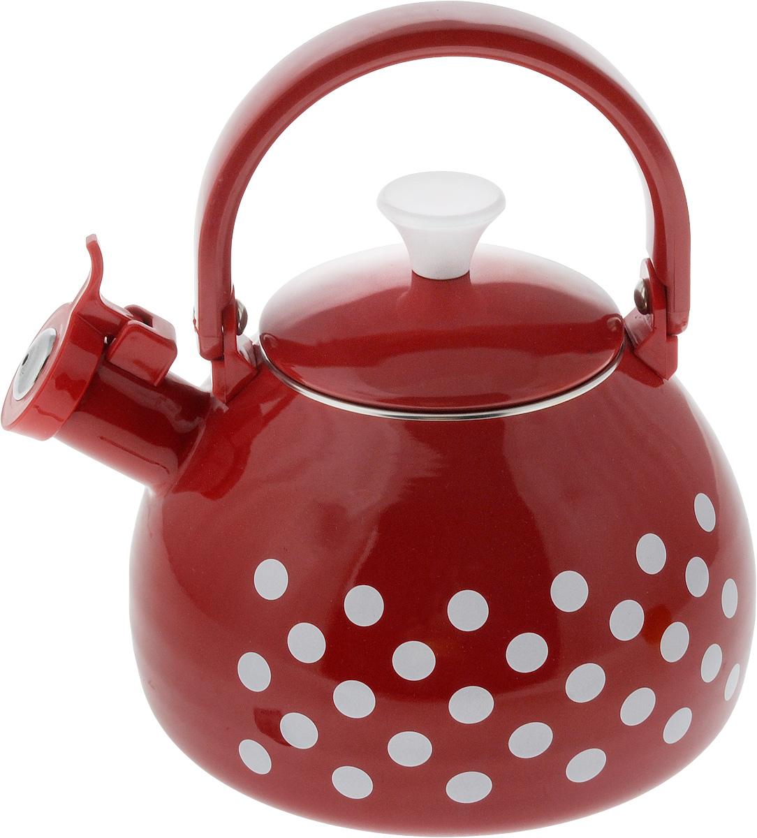 Чайник эмалированный Мetrot Горох, 2,75 л170701Чайник Мetrot Горох выполнен из стали с эмалированным покрытием. Внешние стенки оформлены ярким рисунком. Эмалированная посуда инертна и устойчива к пищевым кислотам, не вступает во взаимодействие с продуктами и не искажает их вкусовые качества. Эмалевое покрытие, являясь стекольной массой, не вызывает аллергию и надежно защищает пищу от контакта с металлом. Кроме того, такое покрытие долговечно, оно устойчиво к механическому воздействию, не царапается и не сходит, а стальная основа практически не подвержена механической деформации, благодаря чему срок эксплуатации увеличивается. Носик чайника оснащен насадкой-свистком, что позволит вам контролировать процесс подогрева или кипячения воды. Подвижная ручка изготовлена из качественного металла. Эстетичный и функциональный чайник будет оригинально смотреться в любом интерьере. Подходит для всех типов плит, включая галогеновые конфорки и индукционные плиты. Можно мыть в посудомоечной машине. ...