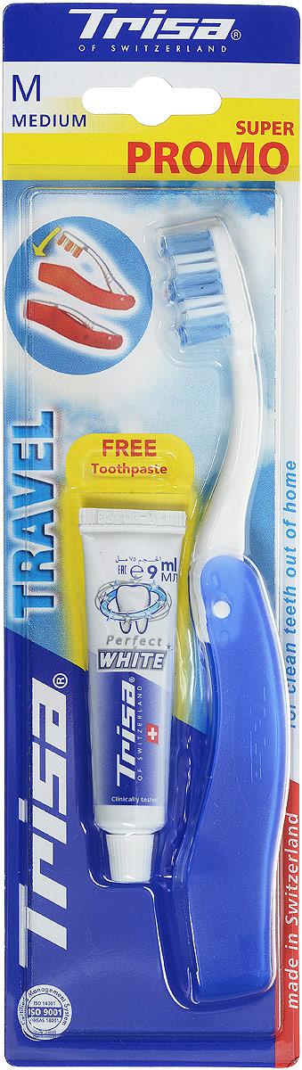 """Trisa Набор Дорожный: зубная щетка """"Тревел"""" + паста отбеливающая, 15 мл, цвет: белый, синий 622044_белый,синий"""