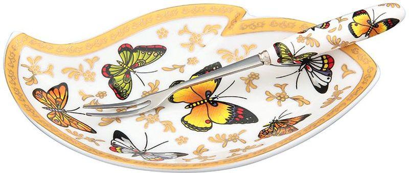 Тарелка под лимон Elan Gallery Бабочки, с вилкой, 17 х 11 х 2 см502300Изящное блюдо для нарезанных долек лимона с вилочкой для удобства. Подойдет для сервировки любой нарезки. Изделие имеет подарочную упаковку, поэтому станет желанным подарком для Ваших близких!
