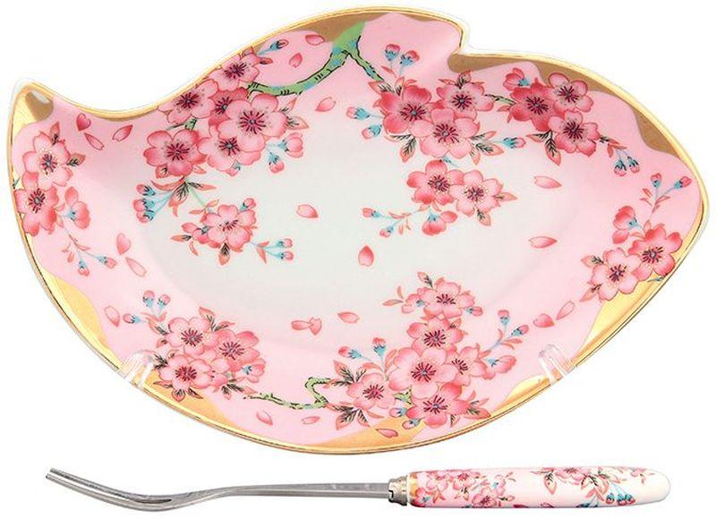 Тарелка под лимон Elan Gallery Сакура, с вилкой, 17 х 11 х 2 см503568Изящное блюдо для нарезанных долек лимона с вилочкой для удобства. Подойдет для сервировки любой нарезки. Изделие имеет подарочную упаковку, поэтому станет желанным подарком для Ваших близких!