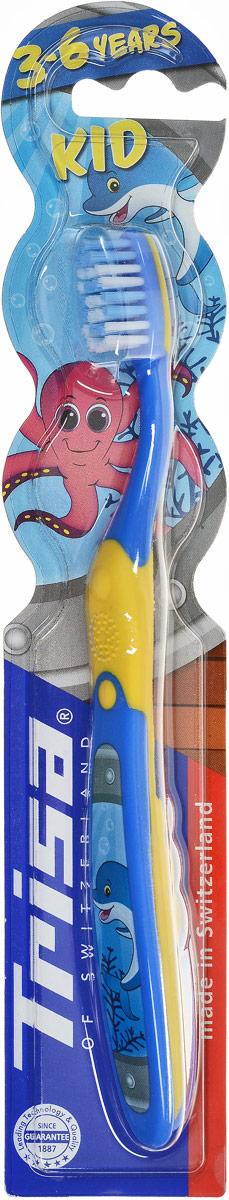 """Trisa зубная щетка """"Кид"""", детская, цвет: синий, желтый 610070_синий, желтый"""