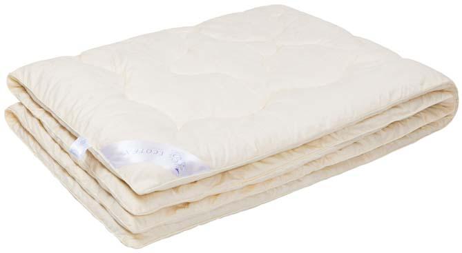 Одеяло Ecotex Кашемир, наполнитель: шерсть, цвет: светло-бежевый, 140 х 205 смОКШ1- долговечность и экологичность; - исключительная мягкость, легкость и шелковистость; - комфорт во время сна: сохраняет тепло, обеспечивая прекрасную циркуляцию воздуха; - снимает напряжение, накопленное за день; - антистатичность.