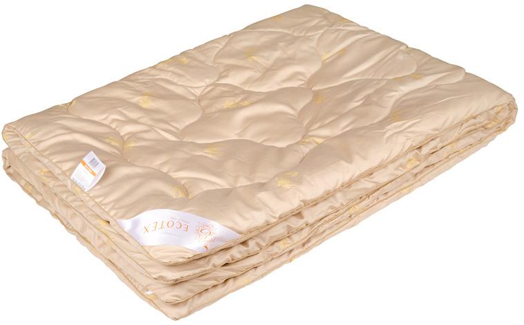Одеяло Ecotex Сафари, наполнитель: верблюжья шерсть, цвет: светло-бежевый, 140 х 205 смОС1- сухое тепло; - благоприятное воздействие на кожу; - высокое содержание ланолина; - антистресс; - экологичность; - антистатичность.