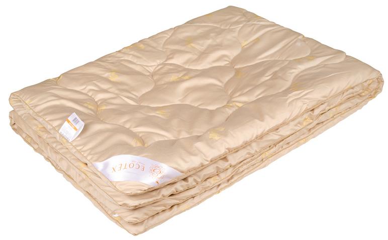 Одеяло Ecotex Сафари, наполнитель: верблюжья шерсть, цвет: светло-бежевый, 172 х 205 смОС2- сухое тепло; - благоприятное воздействие на кожу; - высокое содержание ланолина; - антистресс; - экологичность; - антистатичность.