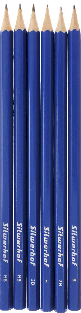 Silwerhof Набор чернографитовых карандашей 6 шт120620-00Набор чернографитовых карандашей Silwerhof отлично подойдет для подчеркивания и в промышленной сфере. Чернографитовый карандаш держать в руке приятно. Ощущение природной фактуры под пальцами, легкий запах древесины настраивают на спокойную плодотворную работу. Но если говорить об удобстве использования, то лучше механического карандаша не найти. Карандаши этого набора - безусловные лидеры!