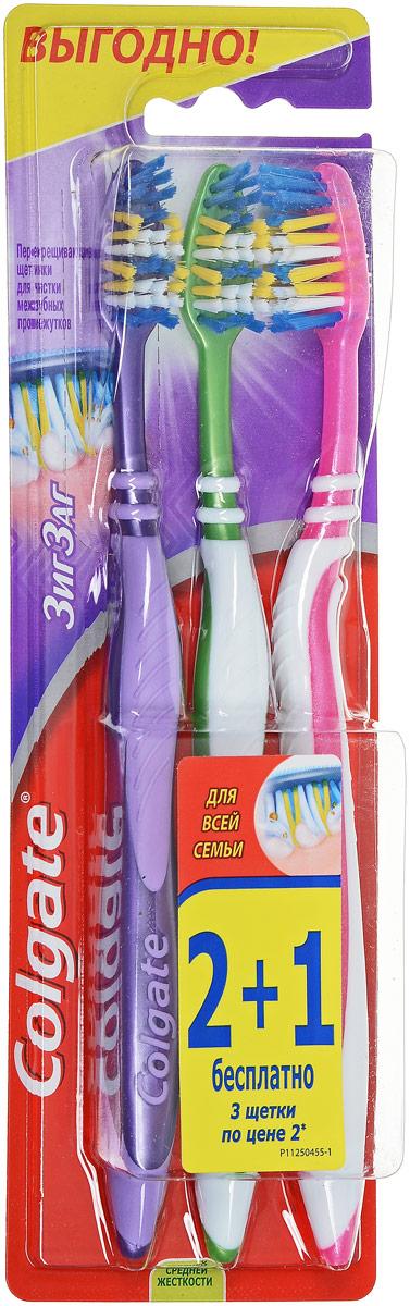 Colgate Зубная щетка Зиг-Заг плюс, средней жесткости, 2+1 бесплатно, цвет: сиреневый, зеленыйFVN50538/FVN59964_сиреневый_зеленыйColgate Зубная щетка Зиг-Заг плюс, средней жесткости, 2+1 бесплатно, цвет: сиреневый, зеленый