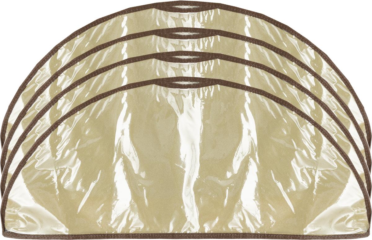 Чехол-накидка на вешалку Все на местах Париж, цвет: коричневый, бежевый, 4 шт, 60 x 18 см1001011.Чехол-накидка на вешалку Все на местах Париж выполнен из спанбонда и ПВХ. В комплекте 4 чехла. Размеры: 60 x 18 см.