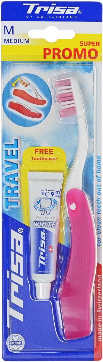 """Trisa Набор Дорожный: зубная щетка """"Тревел"""" + паста отбеливающая, 15 мл, цвет: белый, розовый 622044_белый, розовый"""