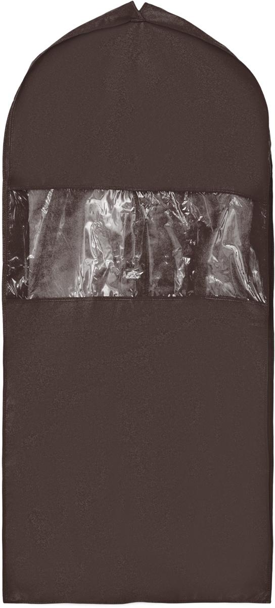 Чехол для костюма Все на местах Minimalistic, цвет: темно-коричневый, 130 х 60 х 10 см1015009.Чехол для костюма Все на местах Minimalistic изготовлен из сочетания спанбонда и ПВХ. Прозрачное окошко значительно облегчает поиск необходимой вещи в гардеробе, а элегантный классический дизайн подойдет к любому гардеробу. Этот чехол для костюма позволит аккуратно переносить любимые вещи, не помяв их и не испачкав во время путешествия. В верхней части чехла есть отверстие для вешалки. Застегивается чехол на прочную молнию. Материал: спанбонд, ПВХ. Размеры: 130 х 60 х 10 см.