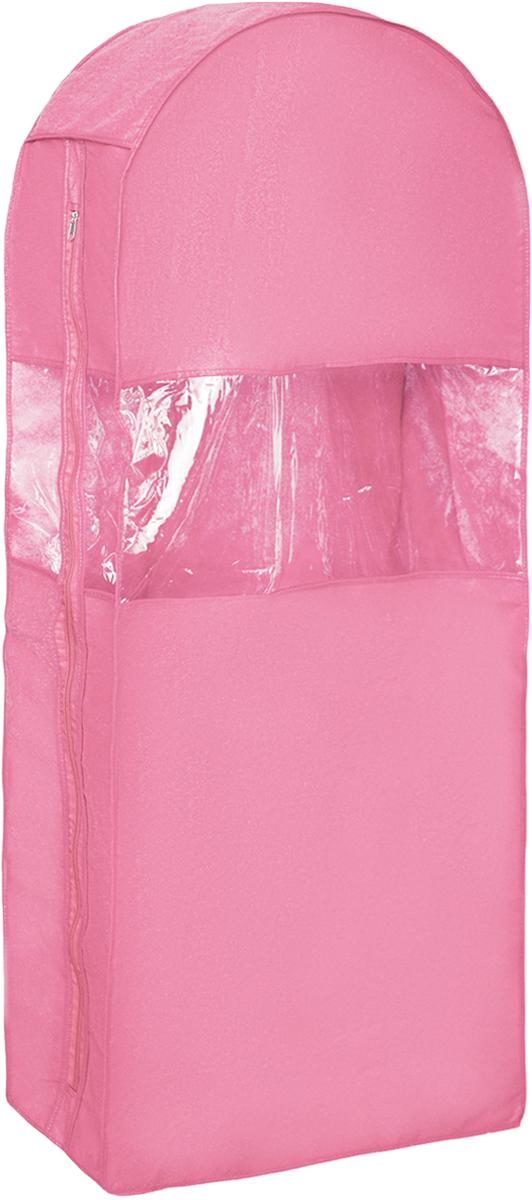 Чехол для одежды Все на местах Minimalistic, двойной, цвет: розовый, 130 х 60 х 20 см1014034.Двойной чехол для одежды Все на местах Minimalistic выполнен из дышащего нетканого материала, который пропускает воздух, но не пропускает пыль, защищает вещи от выцветания и насекомых. Этот удобный и вместительный кофр поместятся целых шесть длинных платьев или четыре плаща. Прозрачное окошко значительно облегчает поиск необходимой вещи в гардеробе. Вам даже не придется снимать чехол с вешалки, достаточно расстегнуть молнию в боковом шве, аккуратно извлечь нужную вещь, и застегнуть чехол. Материал: спанбонд, ПВХ. Размеры: 130 х 60 х 20 см.