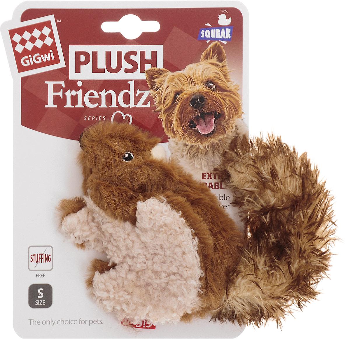 """Игрушка для собак GiGwi """"Белка"""", с пищалкой, длина 16 см 75308"""