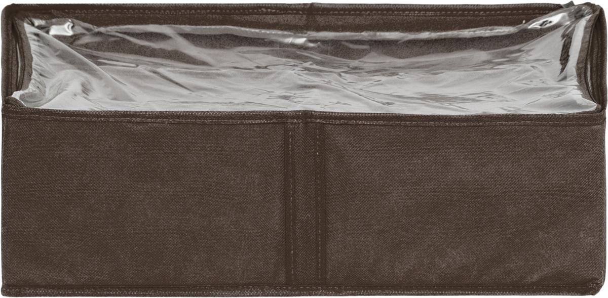 Чехол для одеял Все на местах Minimalistic, цвет: коричневый, 80 х 45 х 15 см1015022.Чехол для одеял Minimalistic выполнен из сочетания ПВХ, спанбонда и изолона. Модель имеет две удобные вертикальные ручки. В стенки чехла вставлен уплотнитель, что позволяет ему держать форму. Материал: спанбонд, ПВХ, изолон. Размер: 80 х 45 х 15 см.