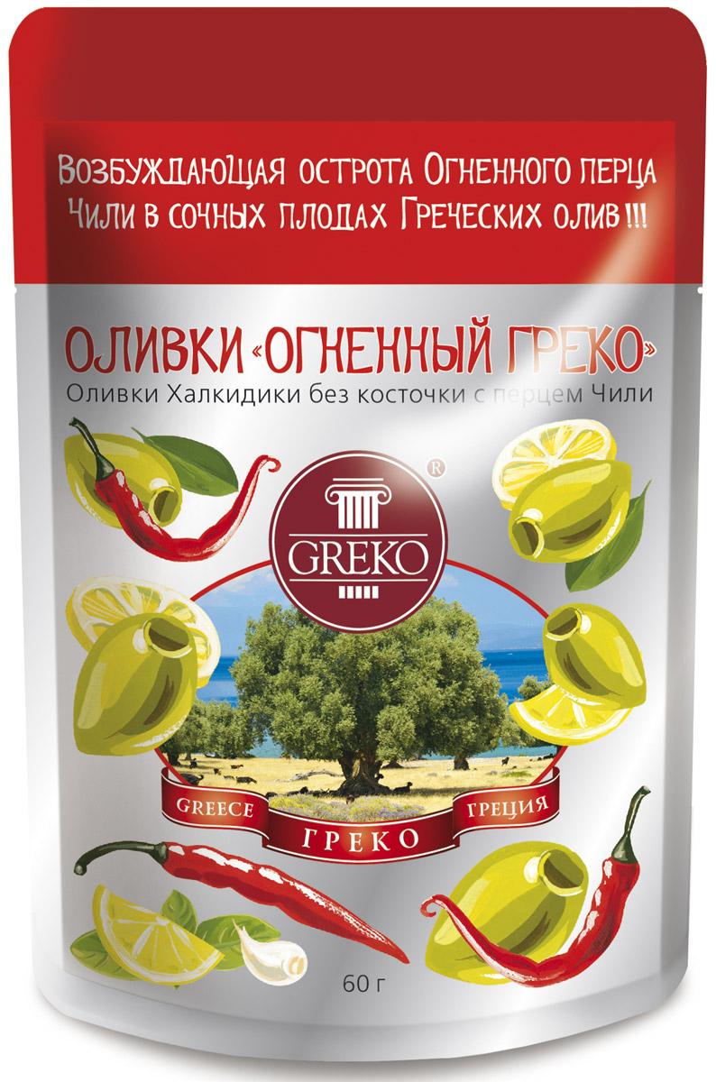 Greko оливки Огненный Греко сорта Халкидики без косточки с перцем чили, 60 г4607070525998Низкокалорийный оливковый снэк в удобной упаковке без жидкости. Халкидики - это зеленые продолговатые с заостренным кончиком оливки. Одни из самых популярных сортов оливок не только в самой Греции, но и во всем Средиземноморье. Выращиваются в северо-восточной Греции на полуострове Халкидики - жемчужине Эгейского моря, в районе, прилегающем к православным монастырям Святой Горы Афон. Гурманы высоко ценят их нежную сочную мякоть и свежий истинно оливковый аромат. Универсальный продукт: может использоваться как самостоятельное блюдо, а также как украшение и ингредиент в закусках, бутербродах, пицце и салатах.