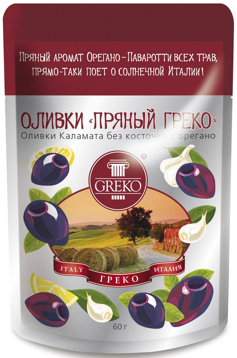 Greko оливки Пряный Греко сорта Каламата без косточки с орегано, 60 г
