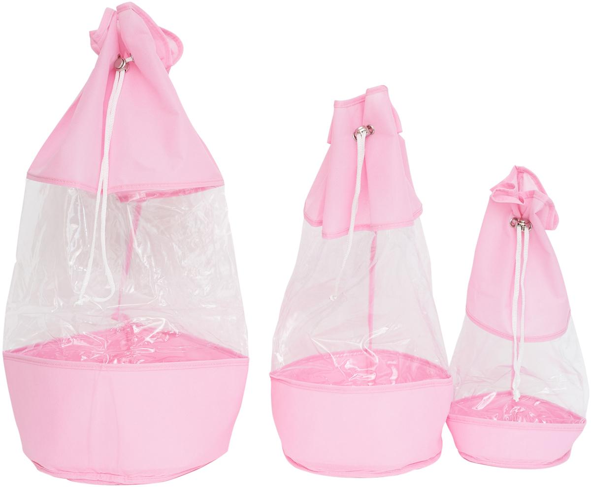 Набор мешочков Все на местах Minimalistic, цвет: розовый, 3 предмета1014023.Набор мешочков Все на местах Minimalistic выполнен из прочного ПВХ и дышащего материала, состоит из трех мешочков разных размеров: 60 см х 25 см, 50 см х 20 см, 40 см х 15 см. Мешочки затягиваются на шнурок с фиксатором. Эстетично и компактно хранить мелкие вещи теперь просто.