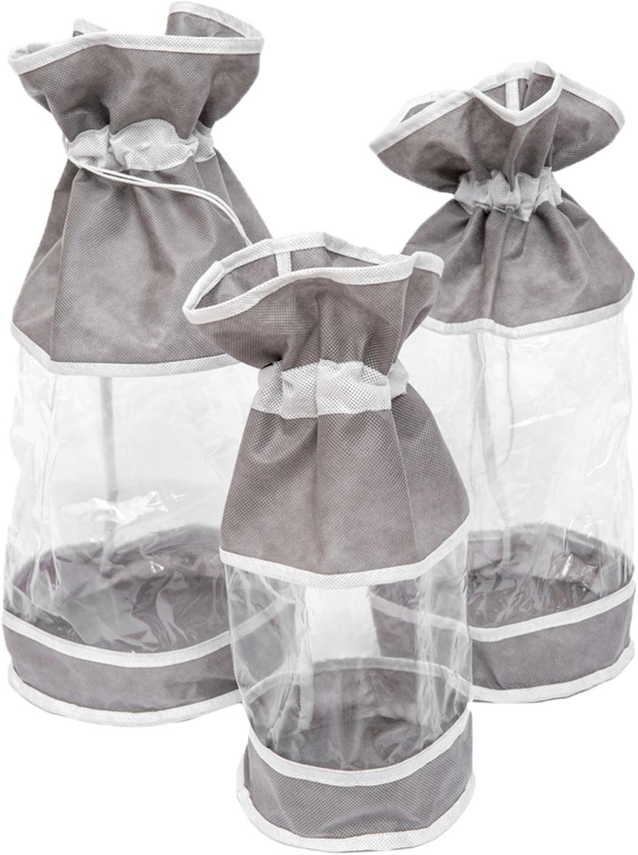 Набор мешочков Все на местах Париж, цвет: серый, белый, 3 предмета1003023.Набор мешочков Все на местах Париж выполнен из прочного ПВХ и дышащего материала, состоит из трех мешочков разных размеров: 60 см х 25 см, 50 см х 20 см, 40 см х 15 см. Мешочки затягиваются на шнурок с фиксатором. Эстетично и компактно хранить мелкие вещи теперь просто.