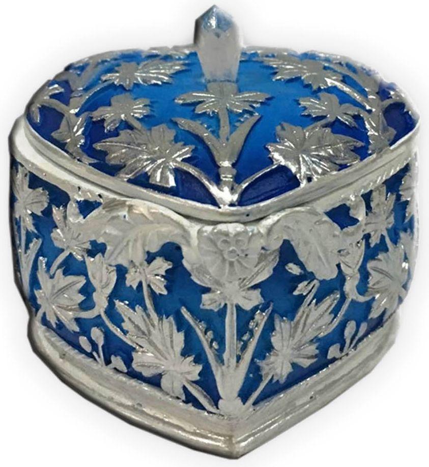 Шкатулка декоративная Magic Home, цвет: синий, 7,5 х 7,5 х 6 см44569Шкатулка декоративная Синяя (полирезины). Такая шкатулка не оставит равнодушным ни одного любителя красивых вещей. Шкатулка может использоваться для хранения бижутерии, в качестве украшения интерьера, а также послужит хорошим подарком для человека, ценящего практичные и оригинальные вещи.