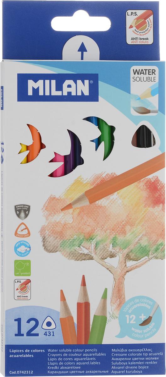 Milan Набор акварельных карандашей 431 12 цветов742312Набор цветных акварельных карандашей с кистью. В картонной упаковке 12 карандашей. Яркие цвета, мягкий грифель. Материал - дерево, трехганный корпус. Хорошо точатся. Упаковка с европодвесом.