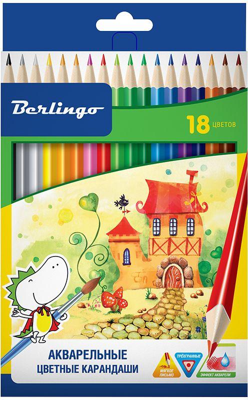 Berlingo Набор акварельных карандашей Сказочный город 18 цветовCP01718Карандаши цветные с заточенным грифелем, с эргономичной трехгранной формой корпуса. Стержень 3,3 мм. Яркие насыщенные цвета. Штрихи мягко ложатся на бумагу. Обладают эффектом акварельных красок - нанесенный на бумагу рисунок можно размыть влажной кистью. Карандаши легко затачиваются. Упакованы в картонную лакированную коробку со склеенным европодвесом.