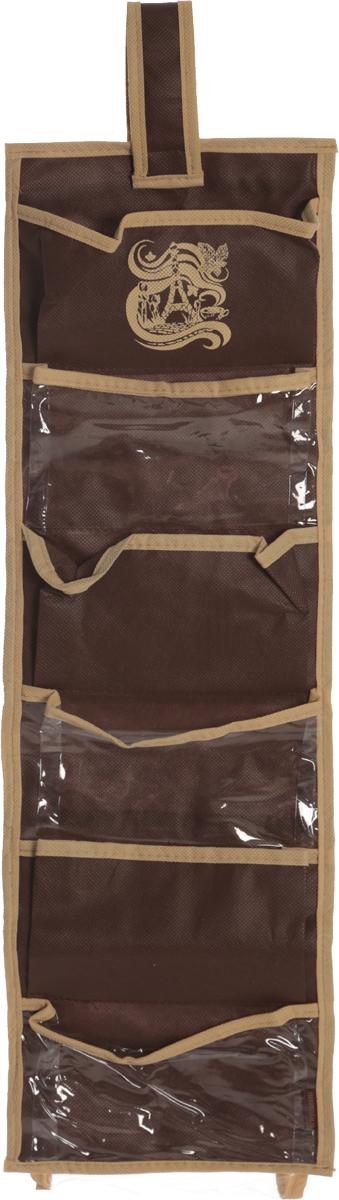 Органайзер для мелочей Все на местах Париж, двусторонний, цвет: темно-коричневый, бежевый, 14 карманов1002021.