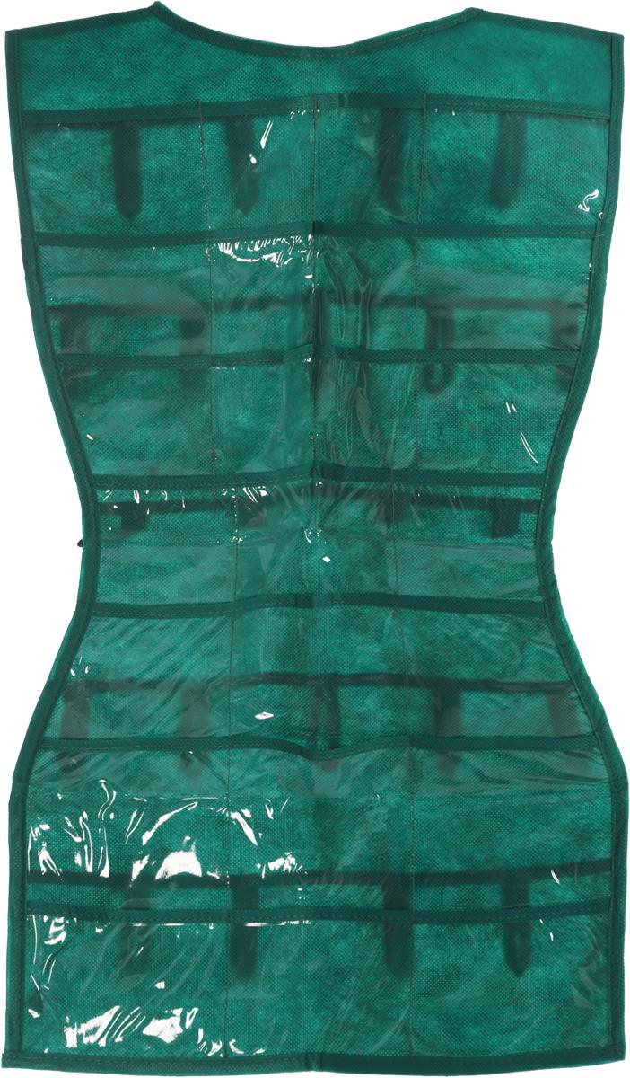 Органайзер для аксессуаров Все на местах Minimalistic. Платье, подвесной, цвет: зеленый, 24 кармана, 68 x 40 см1012014.Подвесной органайзер Все на местах Minimalistic. Платье, изготовленный из ПВХ и спанбонда, предназначен для хранения необходимых вещей, множества мелочей в гардеробной, ванной комнате. Изделие выполнено в форме платья с 24 пришитыми кармашками. Также с обратной стороны имеются петельки, на которые удобно вешать ремни и другие аксессуары. Этот нужный предмет может стать одновременно и декоративным элементом комнаты. Яркий дизайн, как ничто иное, способен оживить интерьер вашего дома. Размер органайзера: 68 х 40 см.