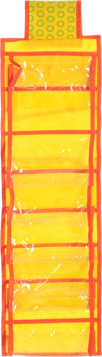 Органайзер для мелочей детский Все на местах Sunny Jungle, подвесной, цвет: желтый, оранжевый, 14 карманов, 20 x 80 см1071021.Подвесной двусторонний органайзер для хранения детских мелочей Все на местах Sunny Jungle изготовлен из высококачественного нетканого материала (ПВХ и спанбонда). Изделие позволяет сохранить естественную вентиляцию, а воздуху свободно проникать внутрь, не пропуская пыль. Органайзер оснащен 14 раздельными секциями, которые идеально подойдут для различных принадлежностей вашего ребенка. Мобильность конструкции обеспечивает складывание и раскладывание одним движением. Органайзер удобно складывается в чехол. Размер органайзера: 20 х 80 см.