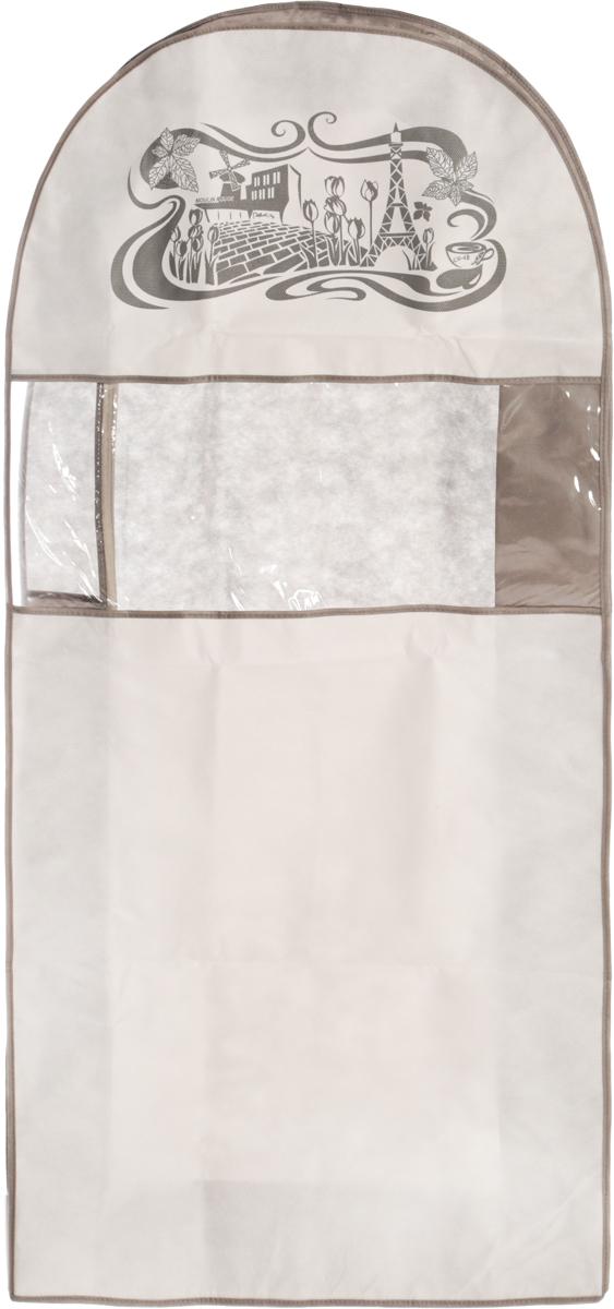 Чехол для одежды Все на местах Париж, двойной, цвет: серый, белый, 130 х 60 х 20 см1003034.Чехол Все на местах Париж изготовлен из сочетания спанбонда и ПВХ и предназначен для хранения одежды. Нетканый материал чехла пропускает воздух, что позволяет изделиям дышать. Благодаря пластиковым вставкам на передней части, чехол идеально держит форму и его стенки не соприкасаются с изделия и не приминают его. С таким чехлом любая одежда надежно защищена от пыли, запаха и механического воздействия. Застегивается на застежку-молнию. Материал: спанбонд, ПВХ.