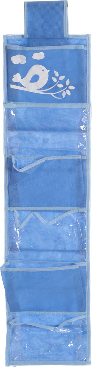 Органайзер для мелочей детский Все на местах, подвесной, цвет: голубой, 14 карманов, 20 x 80 см1074021.Подвесной двусторонний органайзер для хранения детских мелочей Все на местах изготовлен из высококачественного нетканого материала (ПВХ и спанбонда). Изделие позволяет сохранить естественную вентиляцию, а воздуху свободно проникать внутрь, не пропуская пыль. Органайзер оснащен 14 раздельными секциями, которые идеально подойдут для различных принадлежностей вашего ребенка. Мобильность конструкции обеспечивает складывание и раскладывание одним движением. Органайзер удобно складывается в чехол. Размер органайзера: 20 х 80 см.