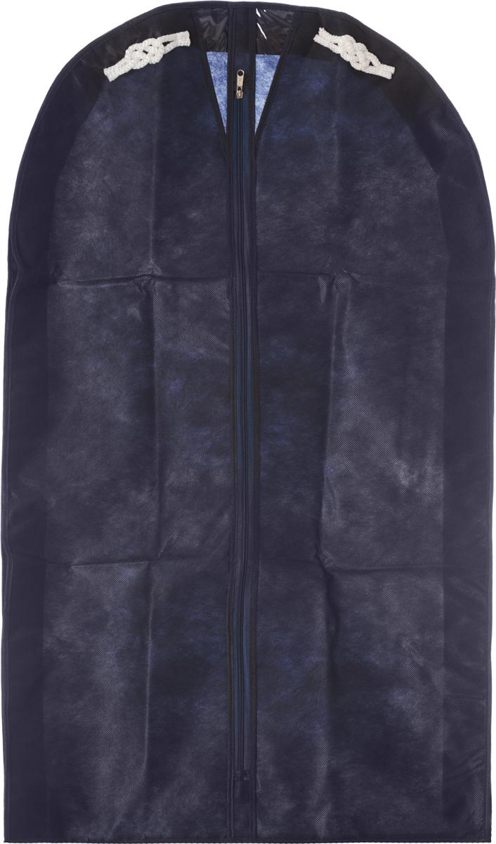 Чехол для мужского костюма Все на местах Классика, цвет: темно-синий, 60 х 100 х 10 см1004018.Чехол Все на местах Классика изготовлен из сочетания спанбонда и ПВХ и предназначен для хранения мужского костюма. Нетканый материал чехла пропускает воздух, что позволяет изделиям дышать. Благодаря пластиковым вставкам, чехол идеально держит форму и его стенки не соприкасаются с мехом изделия и не приминают его. С таким чехлом любой костюм надежно защищен от попадания запаха, пыли и механического воздействия. Застегивается на застежку-молнию. Материал: спанбонд, ПВХ.