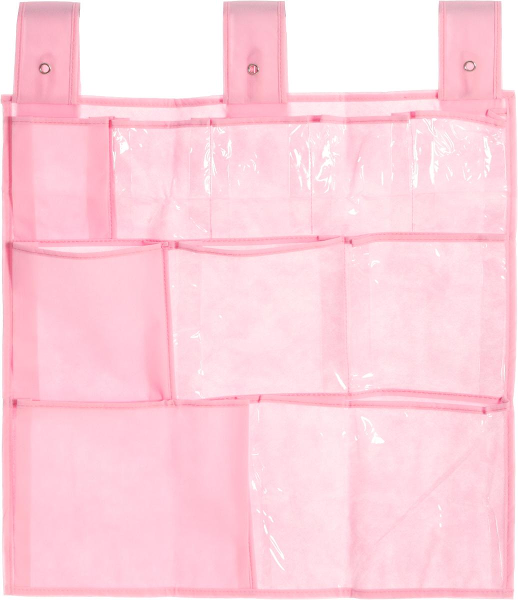 Органайзер для мелочей Все на местах Minimalistic, подвесной, цвет: розовый, 10 карманов, 56 x 56 см1014020.Подвесной органайзер Все на местах Minimalistic, изготовленный из ПВХ и спанбонда, предназначен для хранения необходимых вещей, множества мелочей в гардеробной, ванной комнате. Изделие выполнено в прямоугольной форме с 10 пришитыми кармашками. Крепится органайзер на широкие лямки на липучках. Этот нужный предмет может стать одновременно и декоративным элементом комнаты. Яркий дизайн, как ничто иное, способен оживить интерьер вашего дома. Размер органайзера: 56 х 56 см.