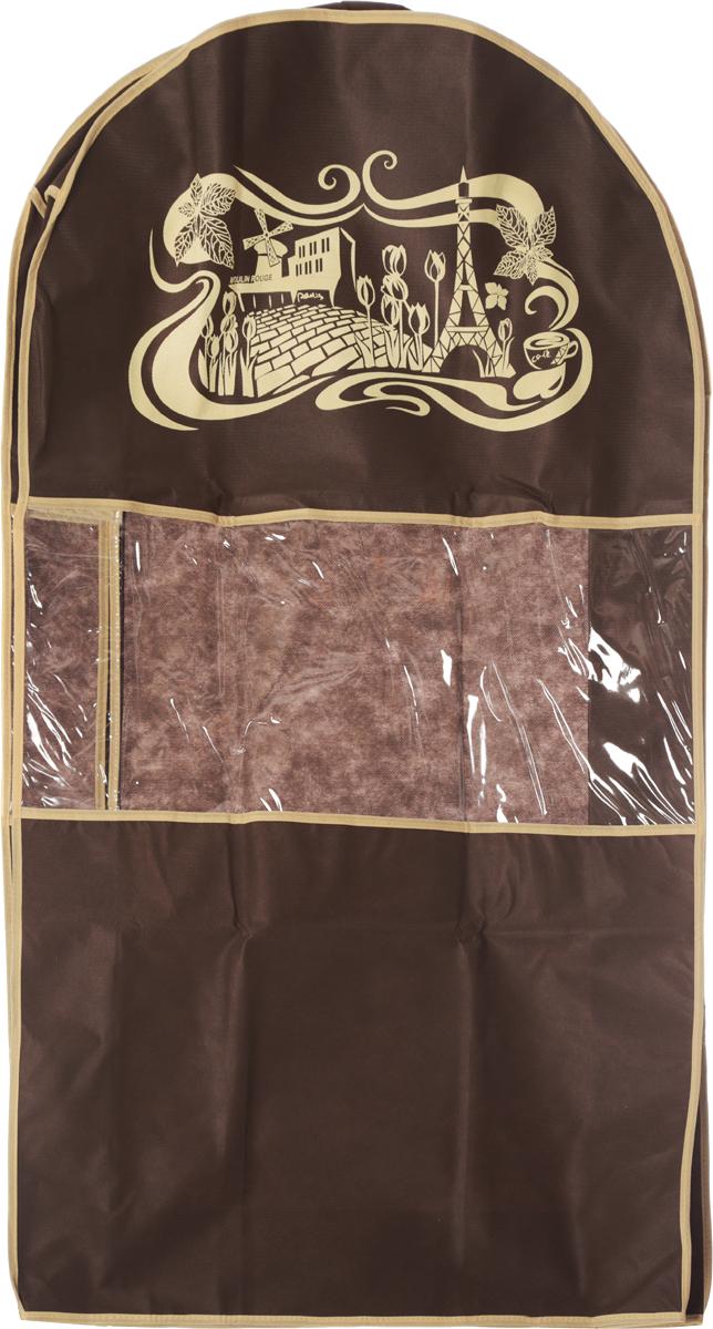 Чехол для костюма Все на местах Париж, цвет: темно-коричневый, бежевый, 100 х 60 х 10 см1002008.Чехол Все на местах Париж изготовлен из сочетания спанбонда и ПВХ и предназначен для хранения костюма. Нетканый материал чехла пропускает воздух, что позволяет изделиям дышать. Благодаря пластиковым вставкам на передней части, чехол идеально держит форму и его стенки не соприкасаются с мехом изделия и не приминают его. С таким чехлом любой костюм надежно защищен от попадания запаха, пыли и механического воздействия. Застегивается на застежку-молнию на задней стенке. Материал: спанбонд, ПВХ.